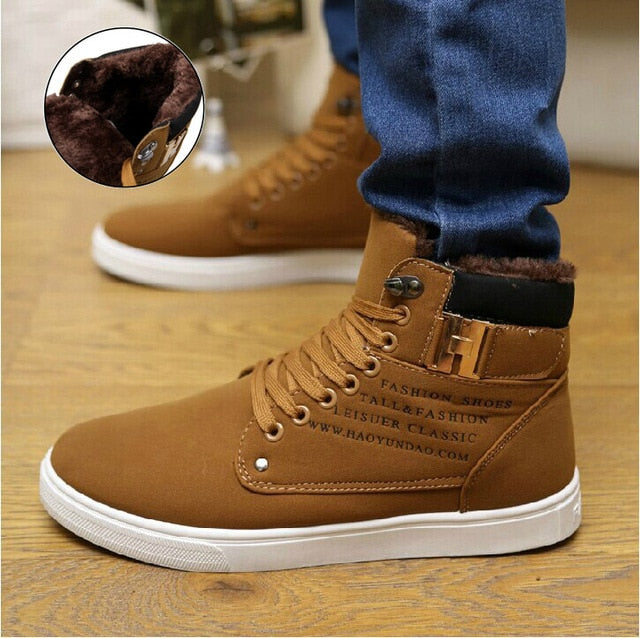 Men snow boots botas masculina 2018 fashion microfiber PU warm Plus cotton ankle boots autumn winter boots men shoes men 39-47