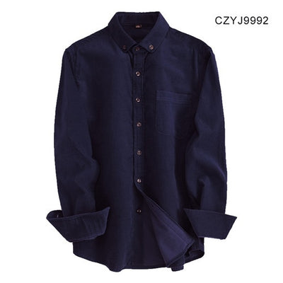 New Autumn/winter 100% cotton corduroy full sleeve button-down collar easy care wearable comfortable solid male casual shirts