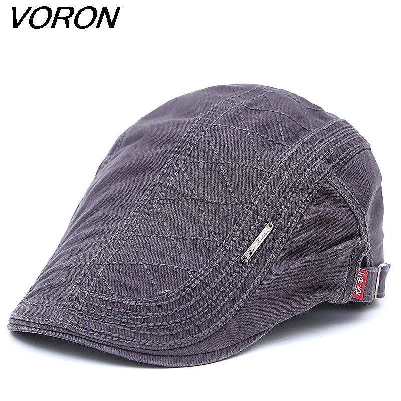 2ccef54f VORON 2017 New Cotton Beret Hats for Men Summer Flat Cap Male Vintage  Casquette Caps Fall Berets Men's Hat for Auntumn Winter