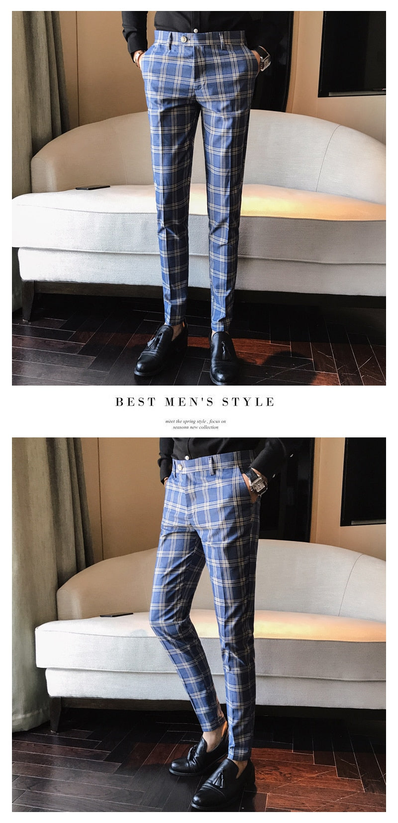 Business Casual Styling Checkered Pants