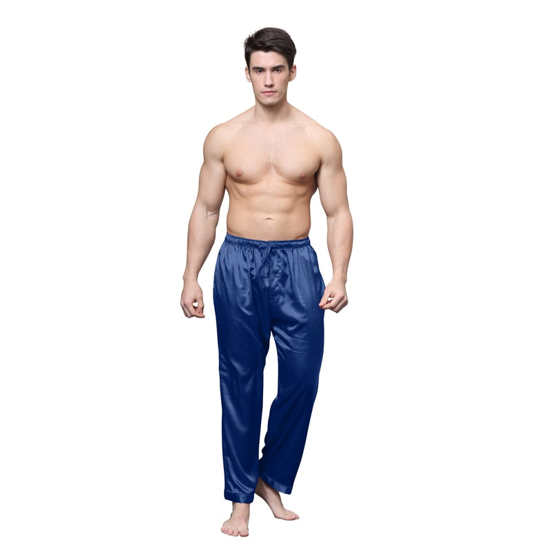 837493859b29d Tony&Candice Pajama Pants Men Satin Silk Sleep Bottoms Casual Trousers Male  Sleepwear Mens Long Lounge Pyjamas Soft Underwear