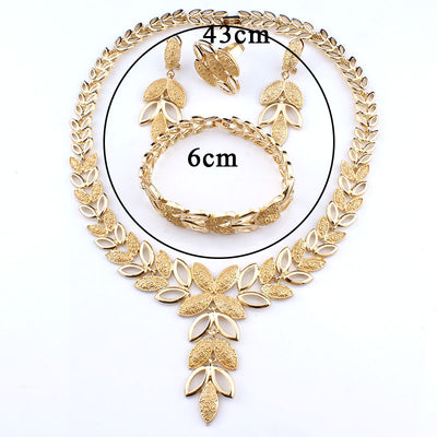 Jewelry Sets Wedding Crystal Heart Fashion Bridal African Gold Color Necklace Earrings Bracelet Women Party Sets