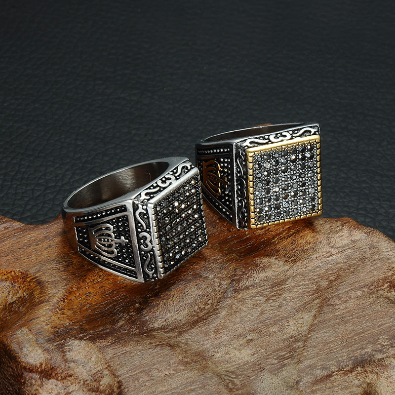 HIP Punk Crown Pattern Mens Signet Rings Vintage Square Titanium Stainless Steel Crystal Rings for Men Jewelry