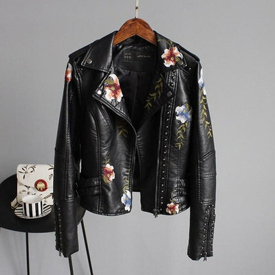 Women Floral Print Embroidery Faux Soft Leather Jacket Coat  Turn-down Collar Casual Pu Motorcycle Black Punk Outerwear