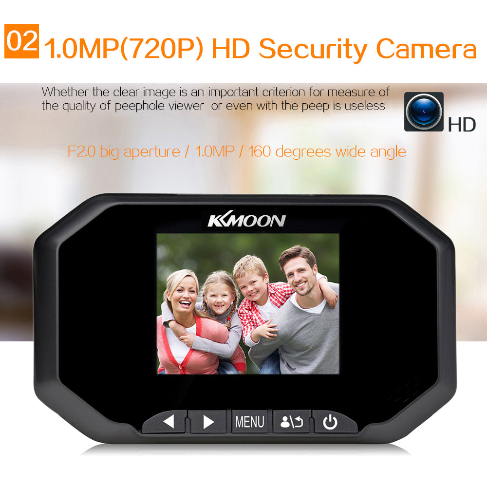 "KKmoon 3.0/"" LCD 720P 1.0MP Lens 160° PIR Door Eye Video Doorbell Peephole Camera"
