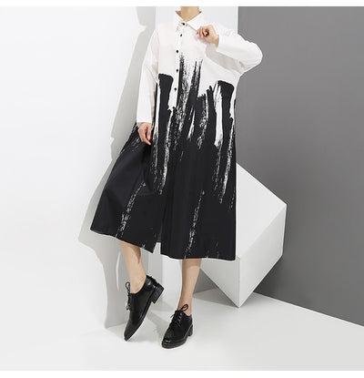 New 2018 Women Painting Style Loose Black Shirt Dress Long Sleeve Print Female Plus Size Party Club Wear Midi Casual Dress 3400