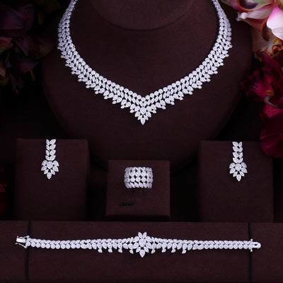 Luxury Women Jewels Elegant Shape Bridal CZ necklace earrings bracelet ring 4pcs  Big Wedding Jewelry Sets For Bride