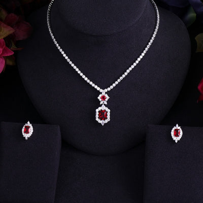 Newest Luxury Sparking Brilliant Cubic Zircon Clear Earrings Necklace Heavy Dinner Jewelry Sst Wedding Bridal Dress Accessories