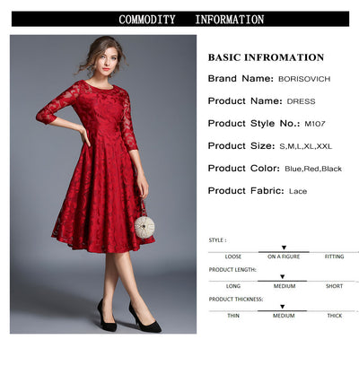 Borisovich New 2018 Spring Fashion England Style Luxury Elegant Slim Ladies Party Dress Women Casual Lace Dresses Vestidos M107