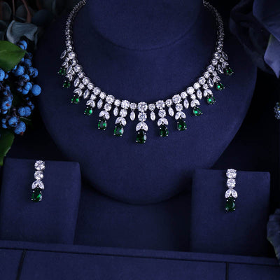 JaneKelly Luxury Sparking Brilliant Cubic Zircon Drop Earring Necklace Heavy Dinner Jewelry Sst Wedding Bridal Dress Accessories