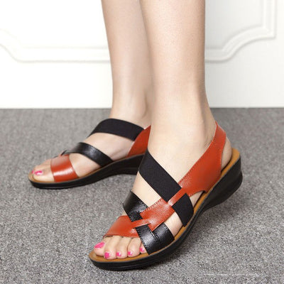 Summer women sandals soft bottom wedge middle-aged sandals woman shoes fashion comfortable mother sandals pu leather women shoes