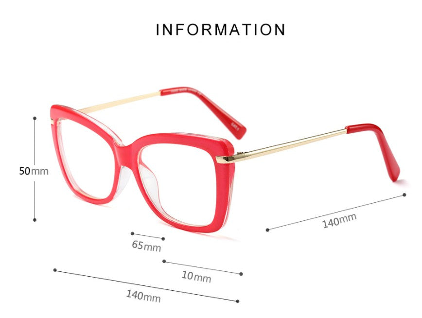 CCSPACE 45548 Ladies Square Glasses Frames For Women Metal Legs Designer Optical EyeGlasses Fashion Eyewear Computer Glasses