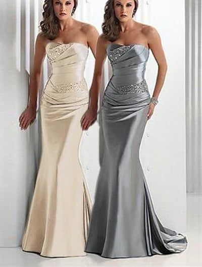 Silver Gray Bridesmaid Dresses Sweetheart Corset Lace Up Satin Champagne Long Brides Maid Dress Maid Of Honor Vestidos De