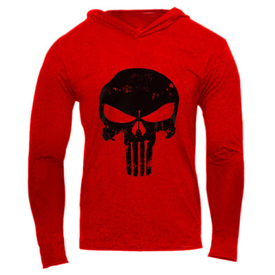 New Skulls Fitness hooded t shirt men streetwear punisher bodybuilding long sleeve t shirt crossfit tshirt gyms tee shirt homme