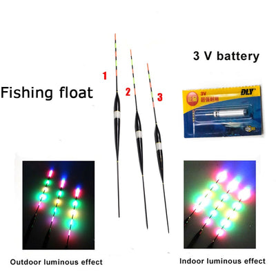 3pcs/set Fishing Float LED Electric Float Light + Battery Deep Water Float Fishing Tackle Bobber Fishing Gear With electrons