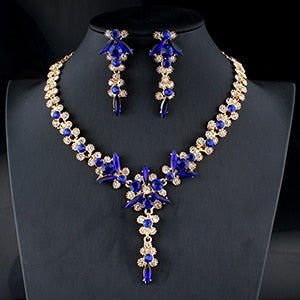 5 colors new crystal wedding jewelry set women gold color necklace long earrings set dress accessories bridesmaid