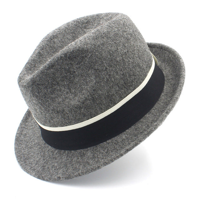 Fashion Women Men Wool Gangster Trilby Fedora Hat For Elegant Lady Gentleman Trilby Felt Homburg Church British Derby Caps