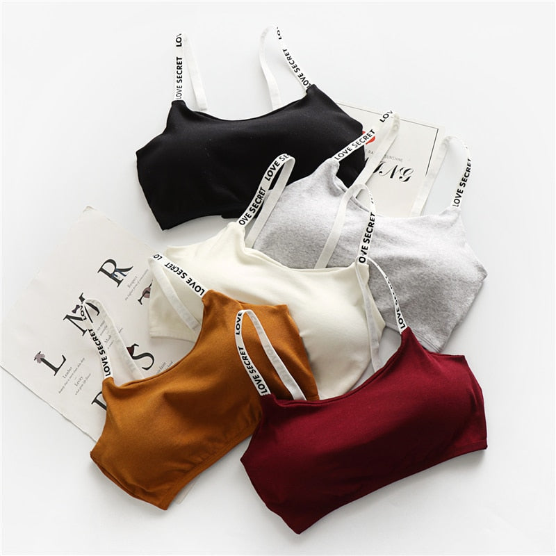 1acc8288e3b4ef Women Crop Tops Camisole Camis Solid Colors Underwear Strappy Padded Bra  Tops Cotton Vest Tank Top