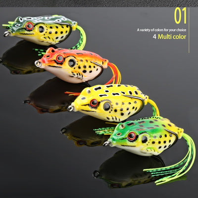 4pcs/Box Ray Frog Soft Fishing Lures 6g 9g 13g Double Hooks Top water Ray Frog Artificial Soft Bait Winter fishing Accessories