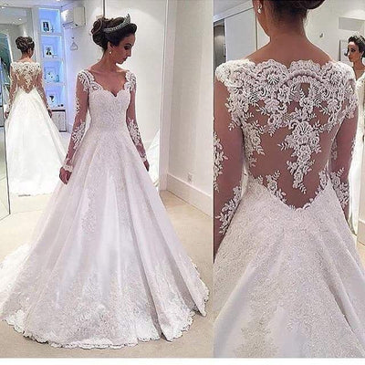 Elegant Long Sleeve Lace Wedding Dresses 2019 Gelinlik A Line Bridal Gowns Custom Made Shop Online China Vestido De Noiva