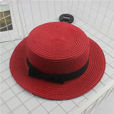 Fashion Parent-child sun hat Cute children sun hats  bow hand made women straw cap beach big brim hat casual glris summer cap