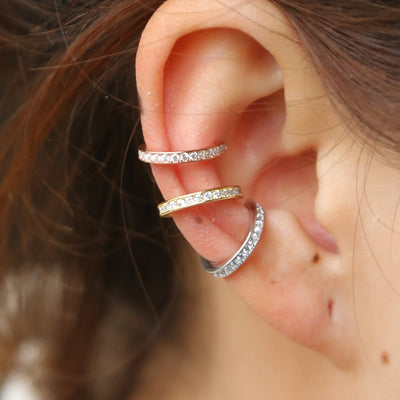 925 sterling silver Earrings Ear Cuff Clip On round cz circle stack 3 colors No Piercing Women earring Accessories