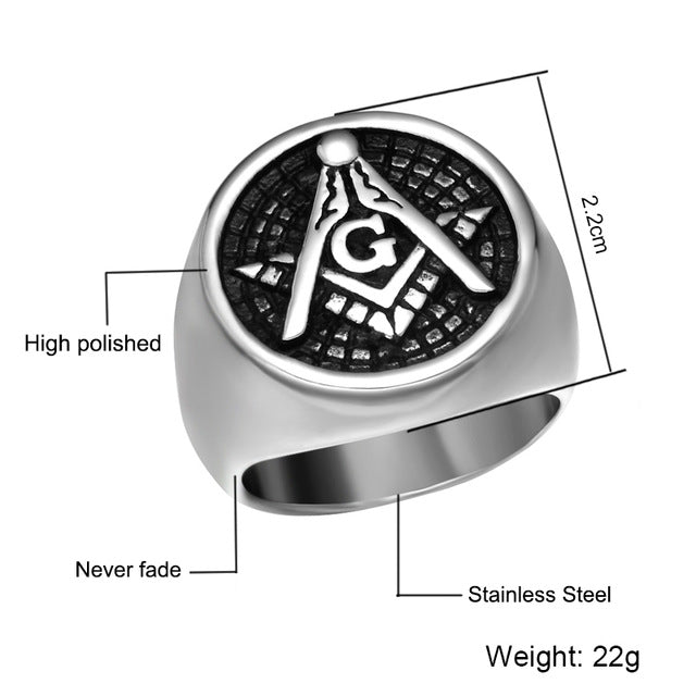HIP Punk Gold Silver Master Masonic Signet Rings Casting Titanium Stainless  Steel Freemason Ring for Men Jewelry Size 8-12