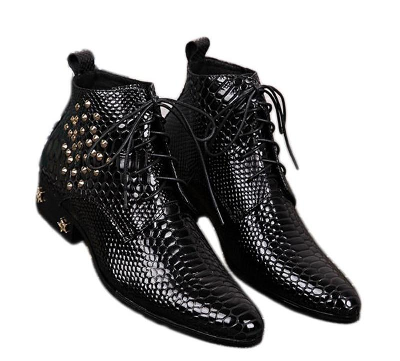 dd16507a1b6 Batzuzhi Top Fashion Man's Ankle Boots with stars and Rivets Men Dress  Boots Black Leather Business Botas Short for Party Party
