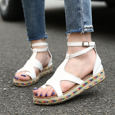 Summer shoes women sandals casual breathable outdoor ladies shoes thick bottom flat with buckle shoes woman sandals