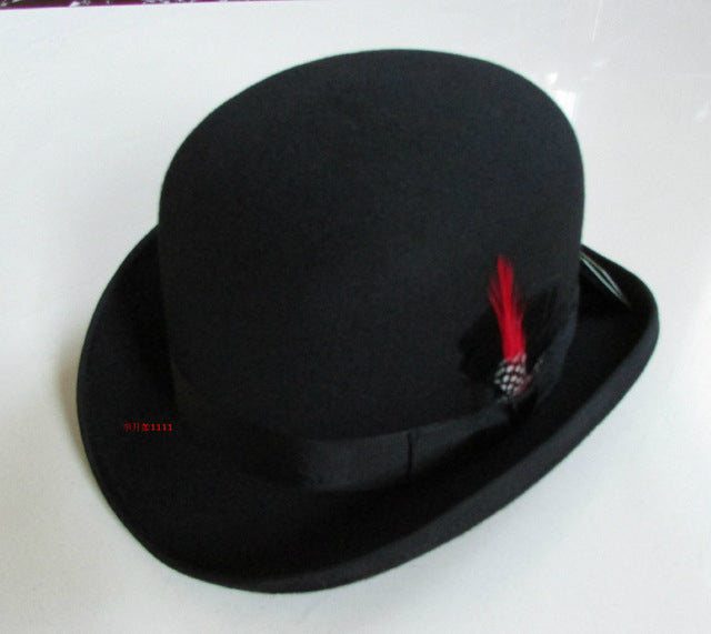 New 100% Wool Hat High Quality Fashion Men's and Women's Black Cap Bowler Hats Black Wool Felt Derby Bowler Hats B-8134