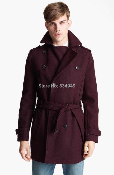 Custom Made Burgundy Trench Coat Men, Double Breasted Winter Overcoat Men Long Coat, Cashmere Wool Coat Winter Coats For Men FREE SHIPPING 6-11 DAYS