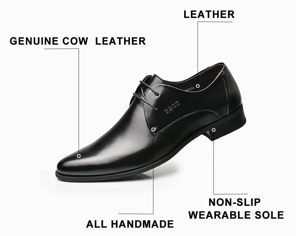 OSCO Men Shoes Spring Summer Formal Genuine Leather Business Casual Shoes Men Dress Office Luxury Shoes Male Breathable Oxfords