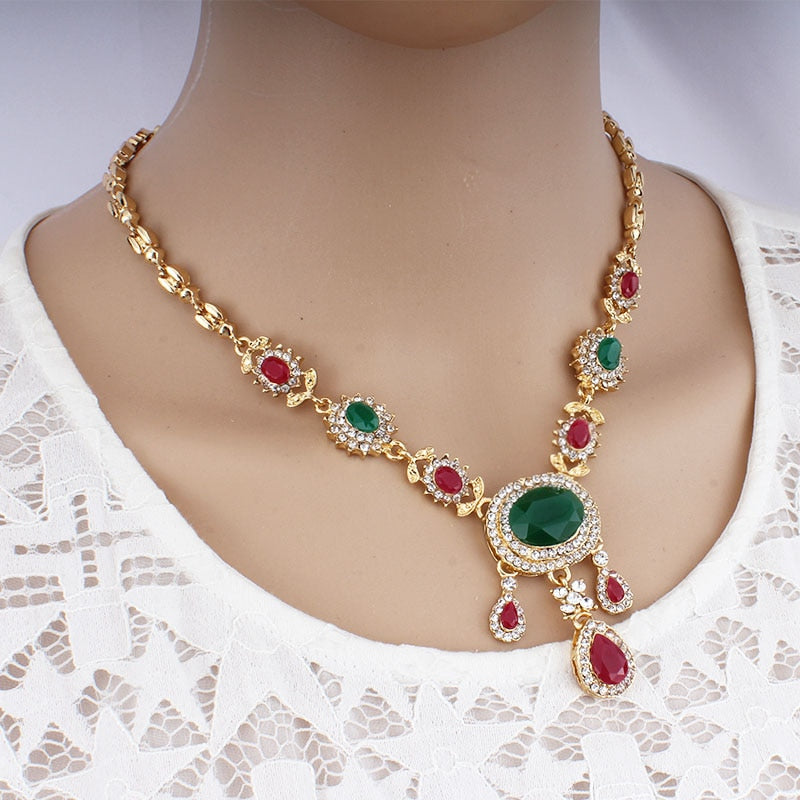 India charm elegant wedding jewelry set  gold-color necklace earrings resin accessories clothing accessories women