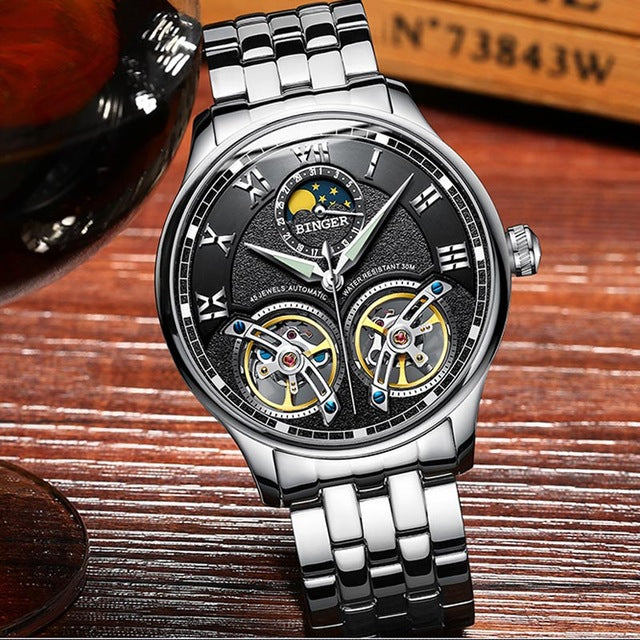 Double Tourbillon Switzerland Brands Watches BINGER Original Men's Automatic Watch Self-Wind Fashion Men Mechanical free shipping 6-11 days