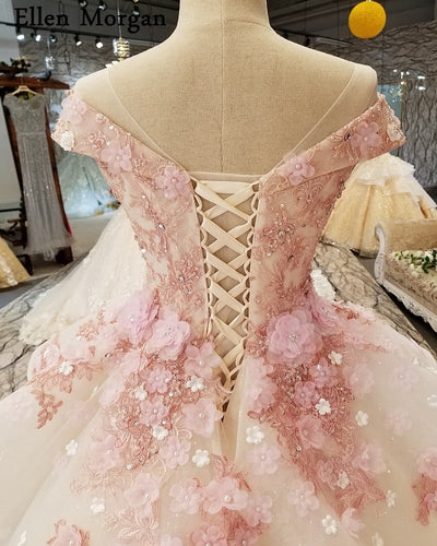 Elegant Pink Lace Princess Wedding Dresses 2019 African Black Girls Flowers Lace up Sheer Neck Puffy Ball Gowns Bridal Gowns