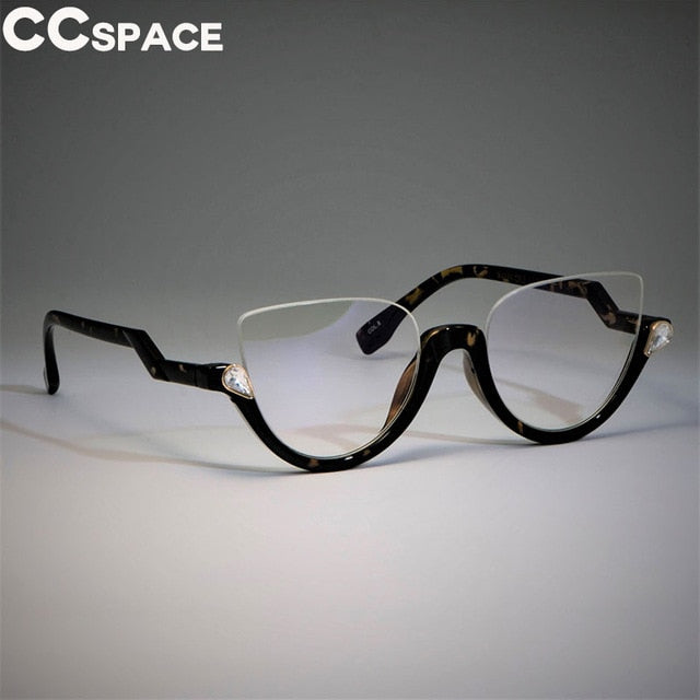 Half Frame Cat Eye Glasses Frames Women Trending Styles CCSPACE Designer Fashion Computer Glasses Lunette 45159