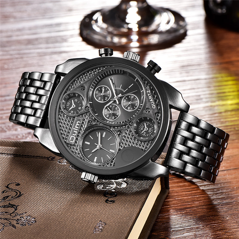Oulm Individuality Big Watch Man Luxury Brand Quartz Wrist Watches Gold Men Full Steel Watch Military Male Clock montre homme