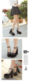 2019 new spring autumn casual high-heeled shoes ruslana korshunova thick heels platform pumps Black White Size 42