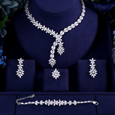 Luxury AAA cubic zirconia heavy necklace ,drop earrings ,bracelet and ring 4pcs dubai full wedding bridal jewelry set for woman