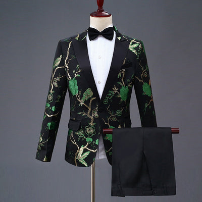 New Design Mens Stylish Embroidery Royal Blue Green Red Floral Pattern Suits Stage Singer Wedding Groom Tuxedo Costume