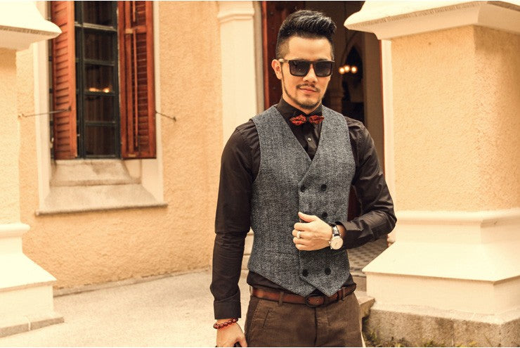 Mens Double Breasted Vest Men Dress Suit Vest Men Formal Grey Vest Suit Gilet Vest Slim Business Jacket Tops homme 2019 spring