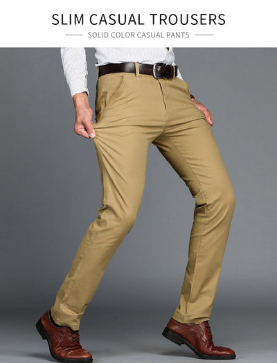 14b4a974c9e26 Vomint Brand Mens Pant Classics Casual Business Stretch trousers regular  Straight Pant Black Blue Khaki 4