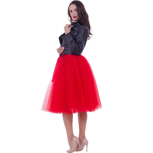 6Layers 65cm Fashion Skirt Pleated Skirts Womens Petticoat Bridesmaids Vintage Midi Skirt Jupe