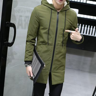 2018 Winter Jacket men hooded Slim Korean Parka Hombre long Jacket coat cashmere mens windbreaker Parkas cotton youth clothing