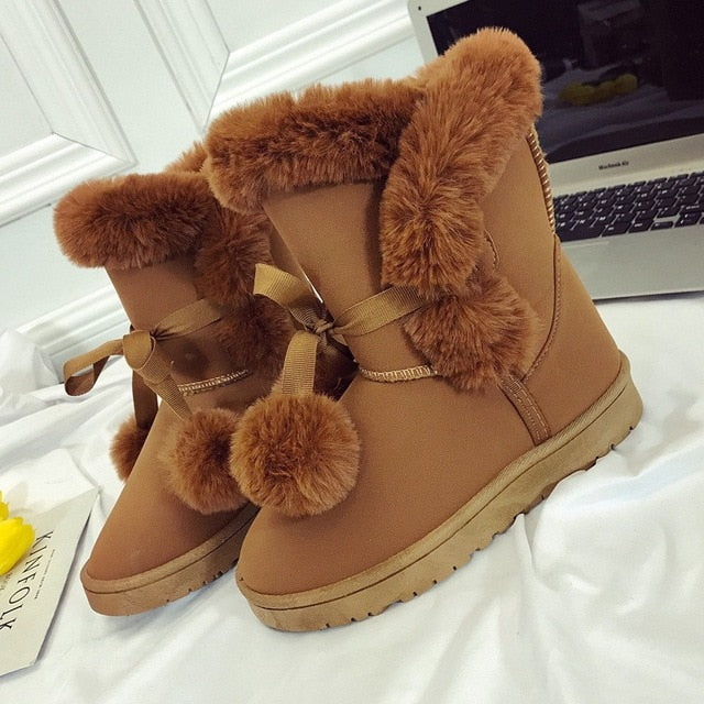 Warm Fur Women Snow Boots Cute Suede Winter Shoes Fur Ball Mid-Calf Boots Female Fashion Boots Non-Slip Snow Casual Shoe ABT1045