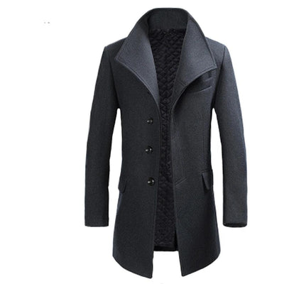 Casaco Masculino Inverno Thicken Wool Coat Men Turn Collar Overcoat Single Button Woolens Jacket For Men 18402-5