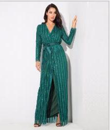Love&Lemonade .  Stripes Cross V Collar Body Long Dresses Green/Silver/Gold/Black/Red LM0266