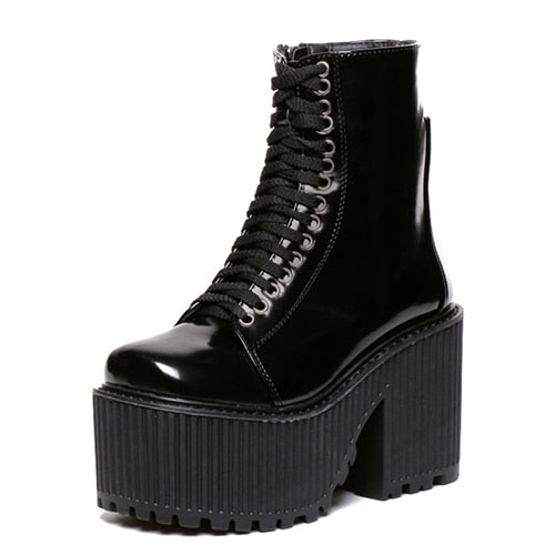 37eec573b68 Gdgydh Fashion Ankle Boots For Women Platform Shoes Punk Gothic Style  Rubber Sole Lace Up Black