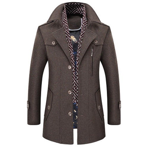Men Coat Wool Overcoat Turn Collar Warm Jackets Woolen Men Coats And Blends With Scarf Breathable Outwear 18423-5