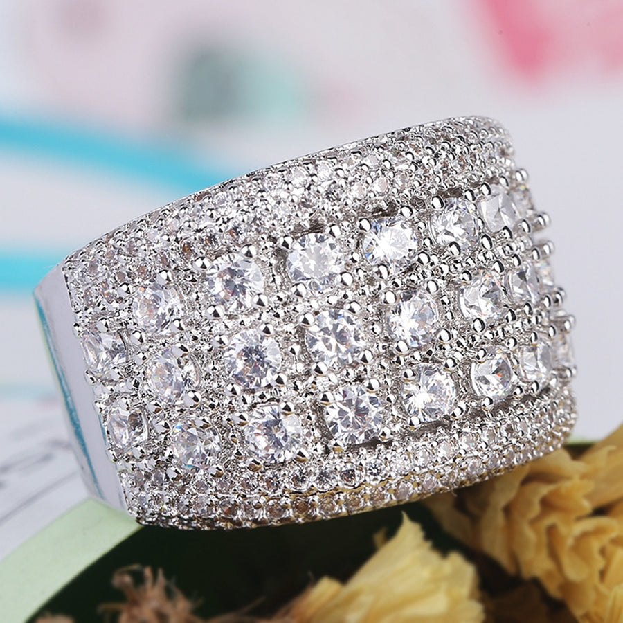 Fashion Big Silver CZ Zircon Stone Rings for Women Wedding Engagement Jewelry